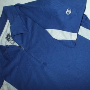 Champion Tops - Blue White Polo Shirt Ladies Champion 1/4 Zip M